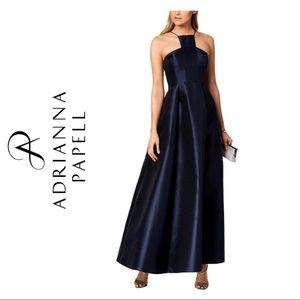 Adrianna Papell Mikado Satin Halter Evening Gown
